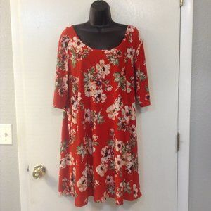 VIBE 3X Red/Cream round neck tunic/dress
